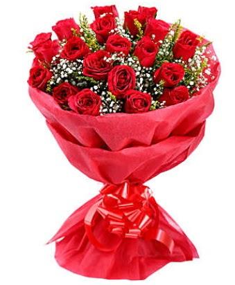 21 adet kırmızı gülden modern buket  Sakarya uluslararası çiçek gönderme