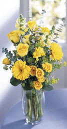 Sakarya İnternetten çiçek siparişi  sari güller ve gerbera cam yada mika vazo