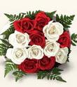 Sakarya hediye sevgilime hediye çiçek  10 adet kirmizi beyaz güller - anneler günü için ideal seçimdir -
