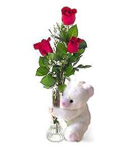 oyuncak ve 3 adet gül  Sakarya kaliteli taze ve ucuz çiçekler