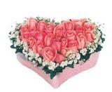 kalp içerisinde 9 adet pembe gül  Sakarya anneler günü çiçek yolla
