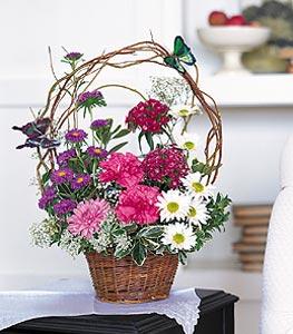 Sakarya çiçek yolla  sepet içerisinde karanfil gerbera ve kir çiçekleri