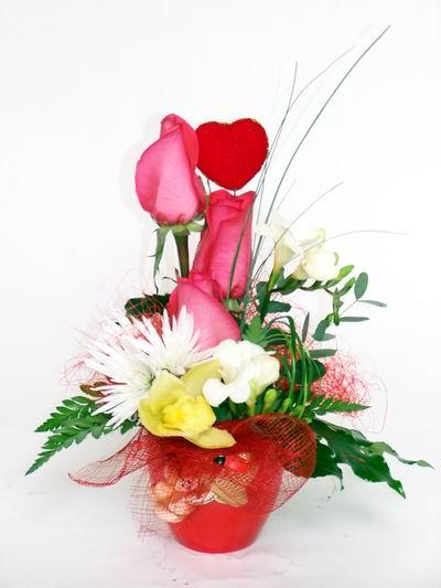 Sakarya çiçek online çiçek siparişi  cam içerisinde 3 adet gül ve kir çiçekleri