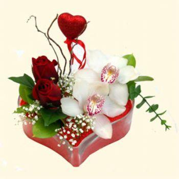 Sakarya çiçek , çiçekçi , çiçekçilik  1 kandil orkide 5 adet kirmizi gül mika kalp