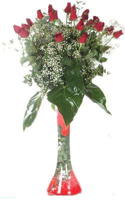 Sakarya çiçek gönderme  19 ADET GÜL VE FIL CAM AYAGI