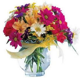 Sakarya güvenli kaliteli hızlı çiçek  cam yada mika içerisinde karisik mevsim çiçekleri