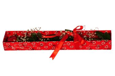 Sakarya 14 şubat sevgililer günü çiçek  kutu içerisinde 1 adet kirmizi gül