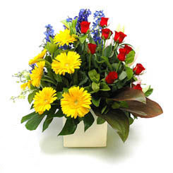 Sakarya İnternetten çiçek siparişi  9 adet gül ve kir çiçekleri cam yada mika vazoda
