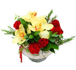Sakarya uluslararası çiçek gönderme  1 adet orkide 5 adet gül cam yada mikada
