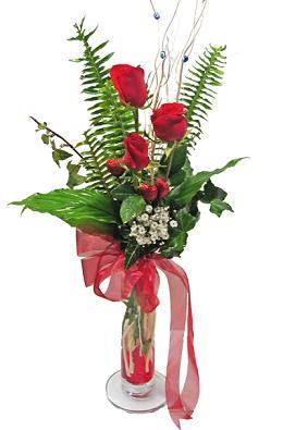 Çiçek gönderin cam vazoda 3 gül çiçekleri  Sakarya kaliteli taze ve ucuz çiçekler