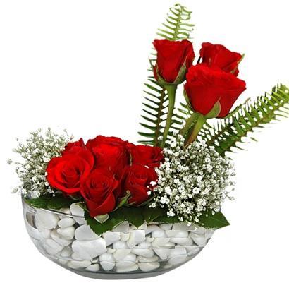 cam içerisinde 9 adet kirmizi gül  Sakarya çiçek yolla , çiçek gönder , çiçekçi