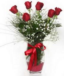 7 adet gülden cam içerisinde güller  Sakarya çiçekçi telefonları