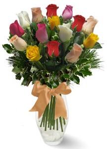 15 adet vazoda renkli gül  Sakarya güvenli kaliteli hızlı çiçek