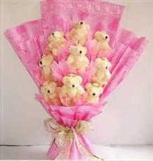 9 adet pelus ayicik buketi  Sakarya çiçek satışı