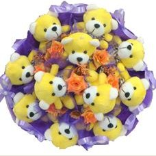 11 adet pelus ayicik buketi  Sakarya çiçekçi mağazası