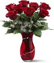 Vazo içinde 8 adet kirmizilar içinde güller  Sakarya online çiçekçi , çiçek siparişi