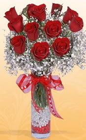 10 adet kirmizi gülden vazo tanzimi  Sakarya kaliteli taze ve ucuz çiçekler