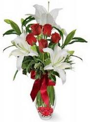 Sakarya çiçek yolla , çiçek gönder , çiçekçi   5 adet kirmizi gül ve 3 kandil kazablanka