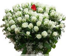 Sakarya güvenli kaliteli hızlı çiçek  100 adet beyaz 1 adet kirmizi gül buketi