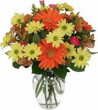 Sakarya çiçek , çiçekçi , çiçekçilik  vazo içerisinde karışık mevsim çiçekleri