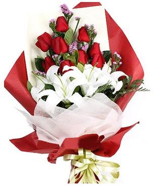 Sakarya yurtiçi ve yurtdışı çiçek siparişi  1 dal kazablankaa 9 adet kırmızı gül buketi