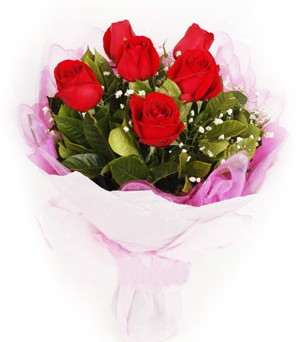 Sakarya çiçek , çiçekçi , çiçekçilik  kırmızı 6 adet gülden buket