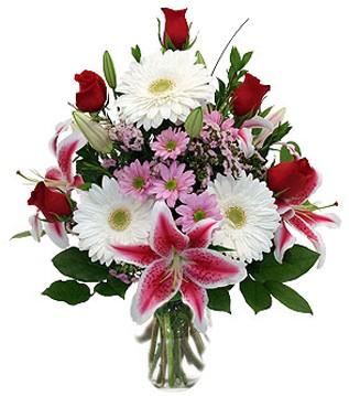 Sakarya çiçekçi mağazası  1 dal kazablanka 5 gül ve kırçiçeği vazosu