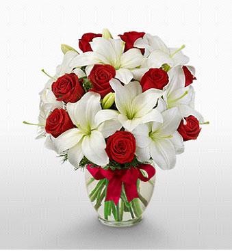 Sakarya çiçek servisi , çiçekçi adresleri  1 dal kazablanka 11 adet kırmızı gül vazosu