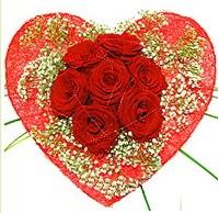 Mika kalp içerisinde 7 adet kırmızı gül  Sakarya çiçek mağazası , çiçekçi adresleri