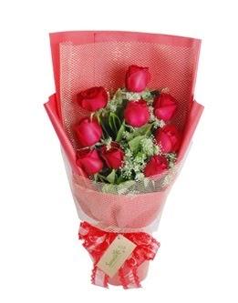 9 adet kırmızı gülden görsel buket  Sakarya çiçek online çiçek siparişi