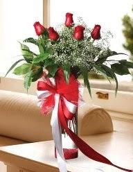 Camda 5 kırmızı gül tanzimi  Sakarya 14 şubat sevgililer günü çiçek