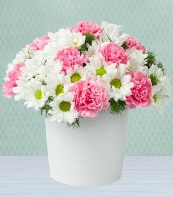 Seramik vazoda papatya ve kır çiçekleri  Sakarya kaliteli taze ve ucuz çiçekler