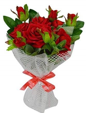 9 adet kırmızı gülden sade şık buket  Sakarya 14 şubat sevgililer günü çiçek