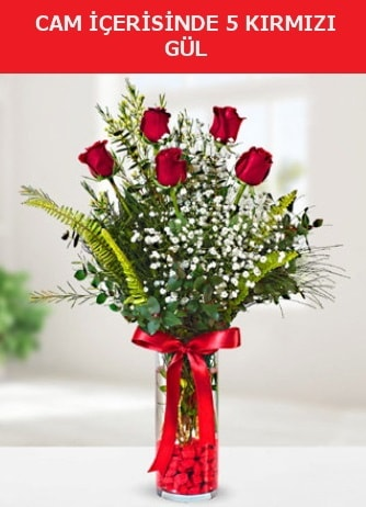 Cam içerisinde 5 adet kırmızı gül  Sakarya kaliteli taze ve ucuz çiçekler
