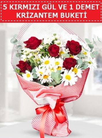 5 adet kırmızı gül ve krizantem buketi  Sakarya anneler günü çiçek yolla