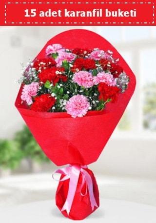 15 adet karanfilden hazırlanmış buket  Sakarya çiçek yolla