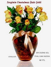 Sakarya güvenli kaliteli hızlı çiçek  mika yada Cam vazoda 12 adet sari gül